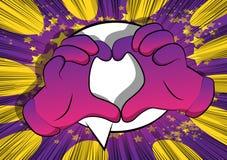 Beeldverhaalhanden die de handgebaar van de hartvorm op grappige boekachtergrond tonen vector illustratie