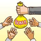 Beeldverhaalhanden die en Bonuszak geven ontvangen Stock Fotografie