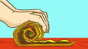 Beeldverhaalhanden die pannekoek met het vullen vouwen cooking stock illustratie