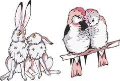 Beeldverhaalhazen en vogeltjeparen in liefde Stock Afbeeldingen