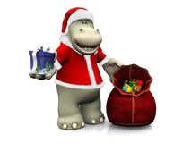 Beeldverhaalhippo die Kerstmisgiften uitdelen Stock Afbeeldingen