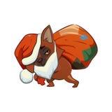 Beeldverhaalhond die een zak met giften dragen vector illustratie