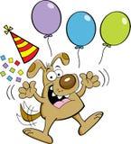 Beeldverhaalhond die met ballons springen Stock Afbeeldingen