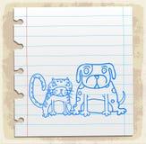 Beeldverhaalhond een kat op document nota, vectorillustratie Stock Afbeelding