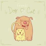 Beeldverhaalhond en kat, Vectorillustratie Stock Afbeeldingen