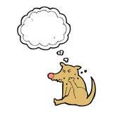 beeldverhaalhond het krassen met gedachte bel Royalty-vrije Stock Foto's