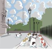 Beeldverhaalhonden op een straat in Parijs Stock Fotografie