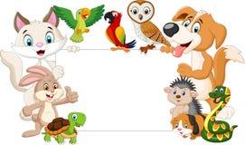 Beeldverhaalhuisdieren met leeg teken vector illustratie