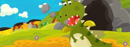 Beeldverhaalillustratie - de groene draak Stock Afbeelding