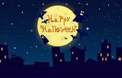 Beeldverhaalillustratie gelukkig Halloween Stad  Stock Foto