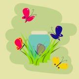 Beeldverhaalillustratie met kleurrijke vliegende vlinders en glaskruik in het gras op de groene achtergrond Stock Foto