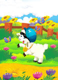 Beeldverhaalillustratie met schapen op het landbouwbedrijf - schijf Royalty-vrije Stock Foto's