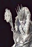 Beeldverhaalillustratie met verbazende prinses die mooie witte kleding, masker en kroon dragen tijdens het Festival van Venetië i royalty-vrije illustratie