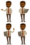 Beeldverhaalillustratie van Afrikaanse Amerikaanse zakenman Stock Foto