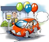 Beeldverhaalillustratie van a-autoeigenaar het proberen om met het totale gewicht van de voertuigwegenbelasting te bedriegen Stock Foto