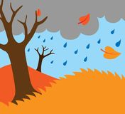 Beeldverhaalillustratie van de aardachtergrond van de de herfstdaling Stock Illustratie