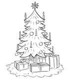 Beeldverhaalillustratie van de Boom van Kerstmiskerstmis met Giften Royalty-vrije Stock Afbeelding