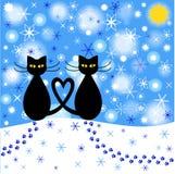 Beeldverhaalillustratie van de winterkatten Stock Afbeeldingen