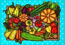 beeldverhaalillustratie van divers groentengeheel en gesneden op een houten achtergrond stock fotografie