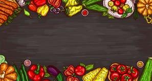 beeldverhaalillustratie van diverse groenten op een houten achtergrond vector illustratie