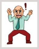 Beeldverhaalillustratie van een boze mens met uitroepteken Stock Afbeelding