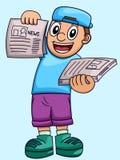 Beeldverhaalillustratie van een jongens verkopende krant stock illustratie