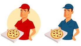 Beeldverhaalillustratie van een kerel van de pizzalevering Royalty-vrije Stock Afbeeldingen