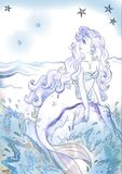 Beeldverhaalillustratie van een mooie meerminzitting op de rots royalty-vrije illustratie