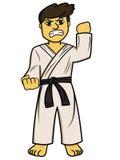 Beeldverhaalillustratie van een vechter van de karatemens vector illustratie