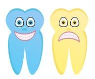 Beeldverhaalillustratie van gezonde tand en rotte tand Stock Afbeelding