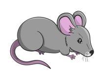 Beeldverhaalillustratie van grijze leuke muis Stock Afbeelding