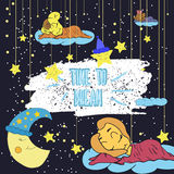 Beeldverhaalillustratie van handtekening van een het glimlachen maan, de sterren en het slaapkind Tijd te dromen Vector illustrat Royalty-vrije Stock Fotografie