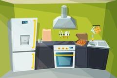 Beeldverhaalillustratie van keukenbinnenland met divers modern meubilair stock illustratie