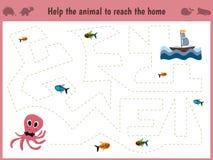 Beeldverhaalillustratie van onderwijs Het passende spel voor peuterjonge geitjes vindt de weg van een grote octopus in het te ete Royalty-vrije Stock Fotografie