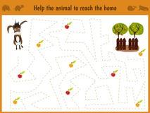 Beeldverhaalillustratie van onderwijs Het passende spel voor peuterjonge geitjes vindt de weg van de ezel op het landbouwbedrijf  Stock Foto