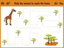 Beeldverhaalillustratie van onderwijs Passend spel voor kleuters om een wild dierlijk girafhuis aan sovanna te houden Alle beelde Royalty-vrije Stock Foto's