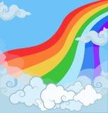 Beeldverhaalillustratie van regenboog van het fantasie de magische landschap in bewolkte hemel royalty-vrije illustratie