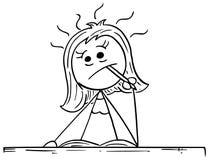 Beeldverhaalillustratie van Vrouw het Denken hard met Potlood in zijn M vector illustratie