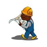 Beeldverhaalingenieur of bouwer met blauwdruk Stock Foto