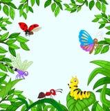 Beeldverhaalinsect in de tuin royalty-vrije illustratie