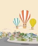Beeldverhaaljonge geitjes binnen een hete luchtballon vector illustratie