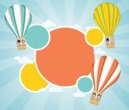 Beeldverhaaljonge geitjes binnen een hete luchtballon stock illustratie