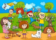 Beeldverhaaljonge geitjes met huisdieren in het park vector illustratie