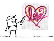 Beeldverhaaljongen die een Schetsmatig Hart trekken Stock Afbeelding