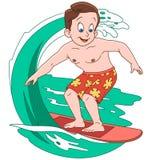 Beeldverhaaljongen die op golven surfen Royalty-vrije Stock Afbeeldingen