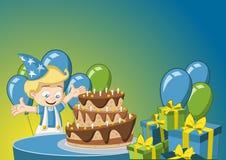 Beeldverhaaljongen die pret hebben bij verjaardagspartij vector illustratie