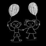 Beeldverhaaljongen en meisje met ballons Stock Foto