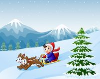 Beeldverhaaljongen het sledding neer op de sneeuw door twee honden wordt getrokken die Royalty-vrije Stock Afbeelding