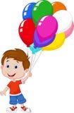 Beeldverhaaljongen met kleurrijke ballons in zijn hand Stock Foto's