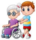 Beeldverhaaljongen met oma in rolstoel vector illustratie